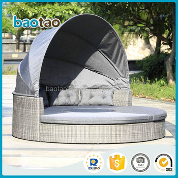Attraktiv Extravagantes Design Rattan Runde Outdoor Lounge Bett Mit Baldachin