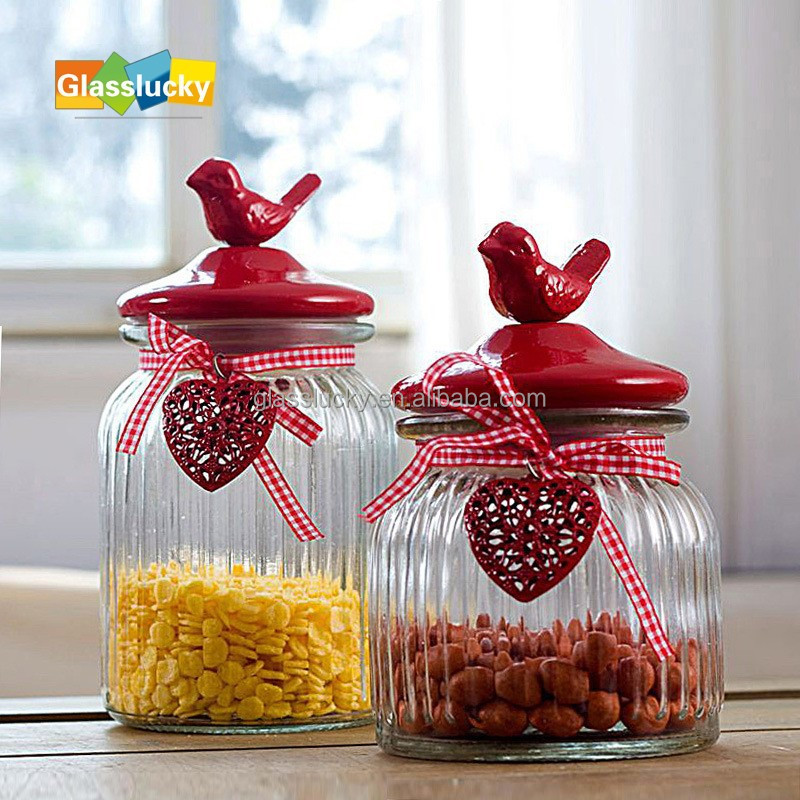 Wholesale Glass Candy Jars With Ceramics Lid For WeddingGlass Cookie Jar