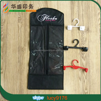 custom reusable hanger hair extensions packing bag with clear PVC window and zipper