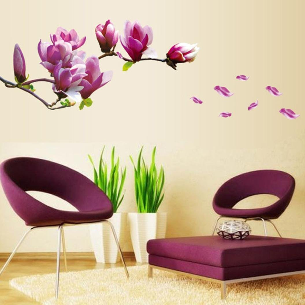 Iuhan® Fashion Magnolia Flowers Removable Art Vinyl Mural Home Room Decor Wall Stickers
