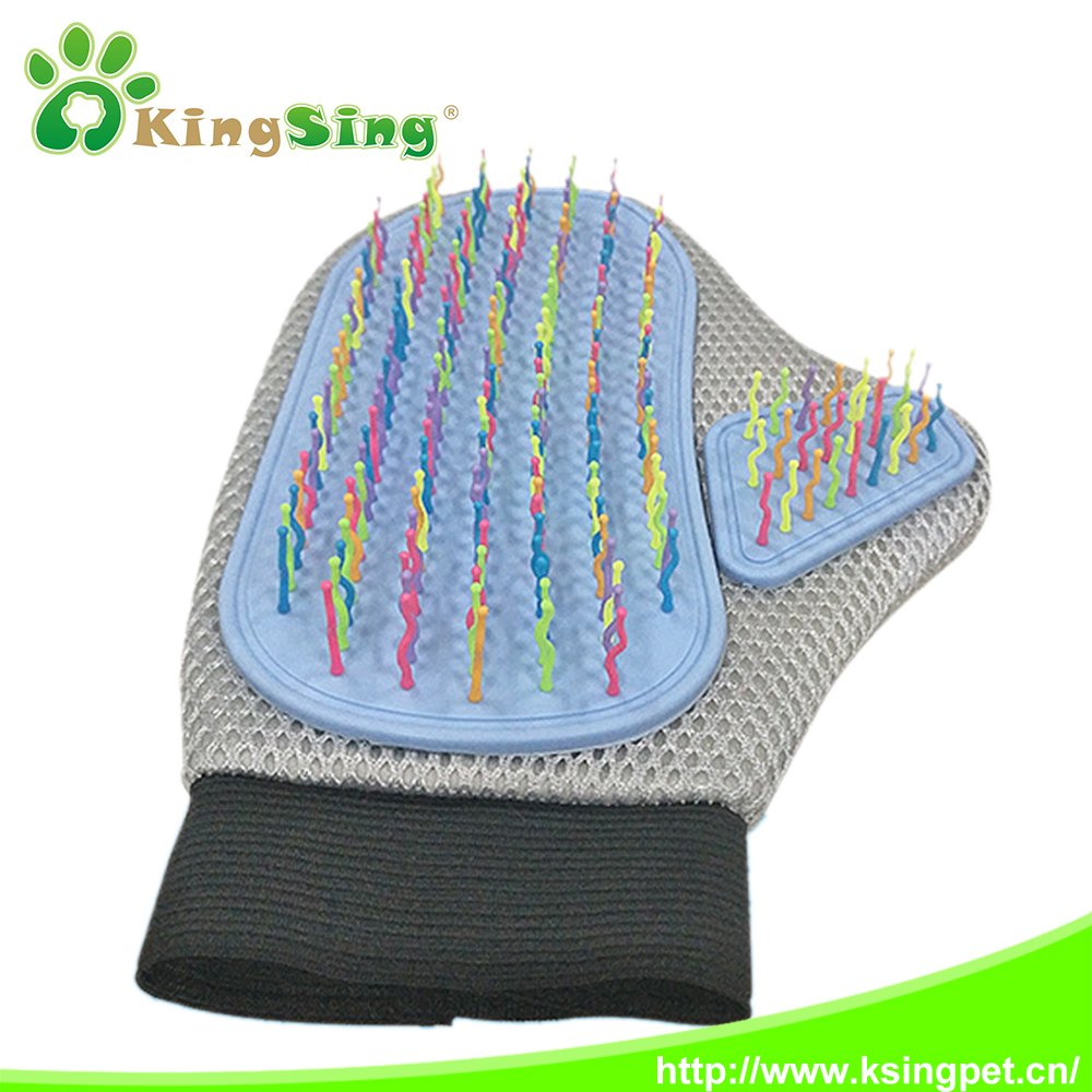 Colorful needle fur massage pet grooming brush gloves