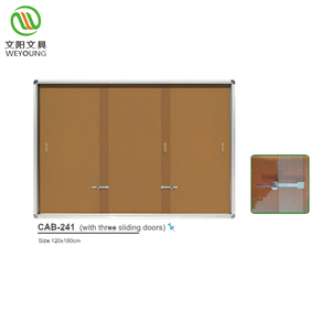 Office Sliding Doors Bulletin Board Enclosed Cork Board With Aluminum Frame