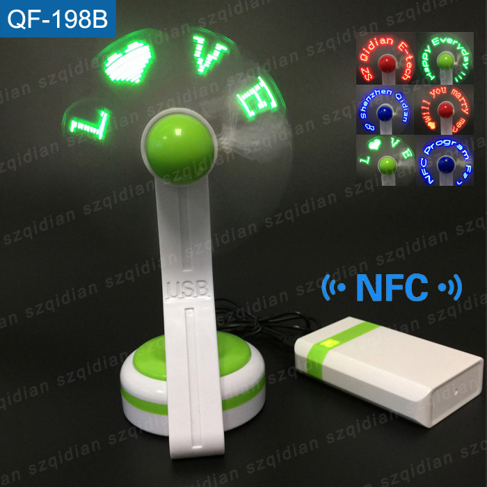 New product home appliances air cooler rechargeable electric led desk fan light support NFC mobilephones program your messages