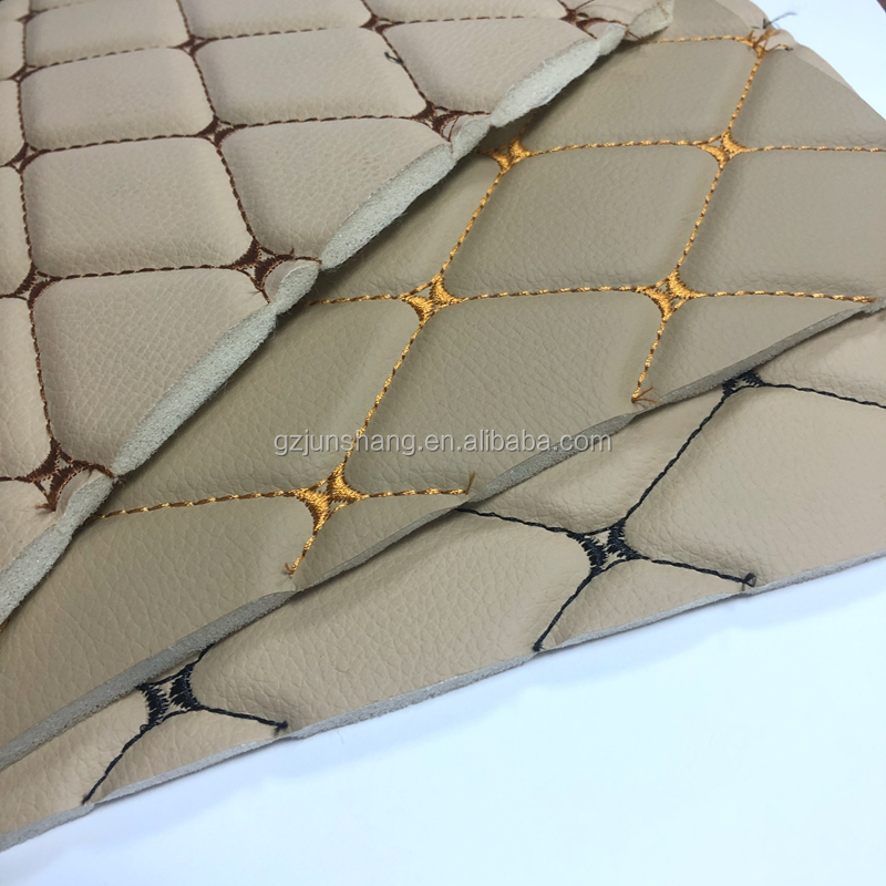 Different color embroidery PVC leather for car seat cover and car mat usage