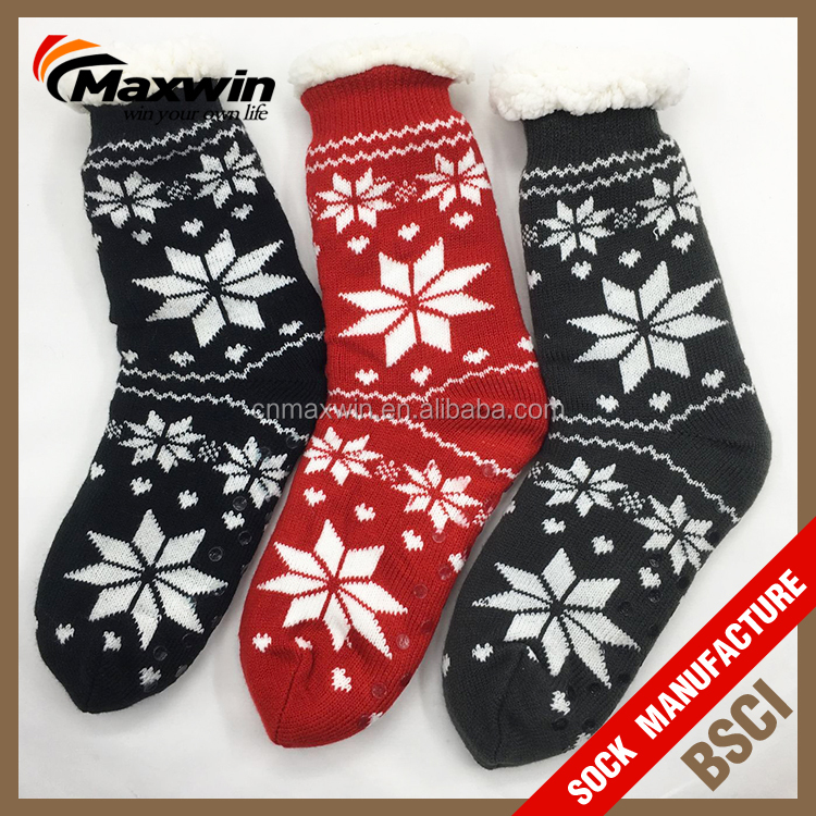 Customized thick warm clouds fabric double layer fuzzy fleece lined sliper indoor floor socks