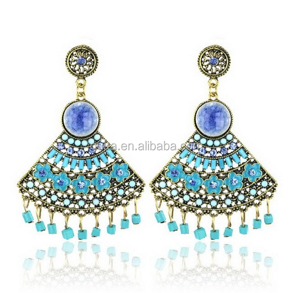 ceramic decoration and lovely floral chinese enamel Earring asian jewelry