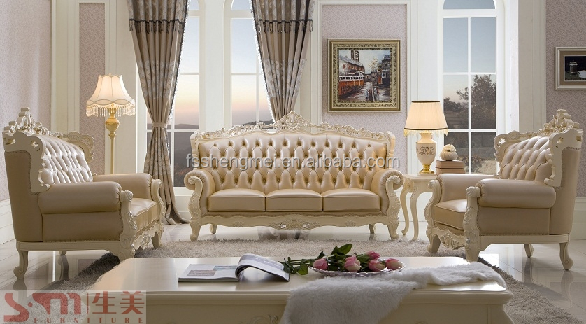 New Luxury Wood Sofa Set Classic Design Wood Carving Sofa Charming Leather  Sofas