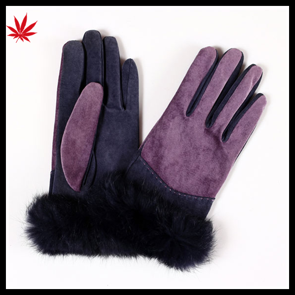 Women fashion high quality cheap suede leather gloves with fur