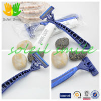 hotel/travel individual high quality three blades shaving razor with lubricating strips