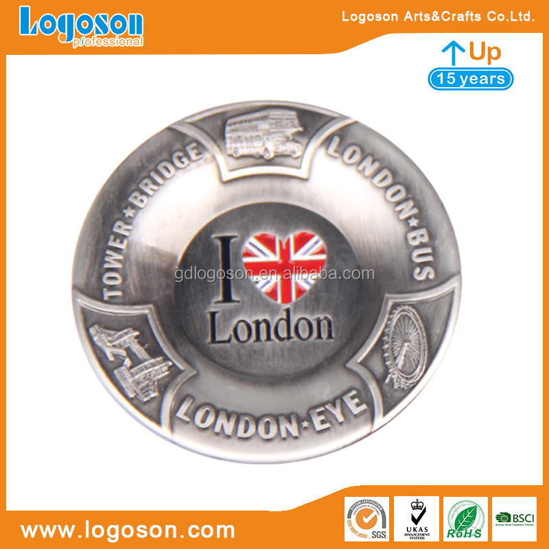 Wholesale cigar ashtrays antique copper ashtray London Bridge engraved zinc alloy ashtray
