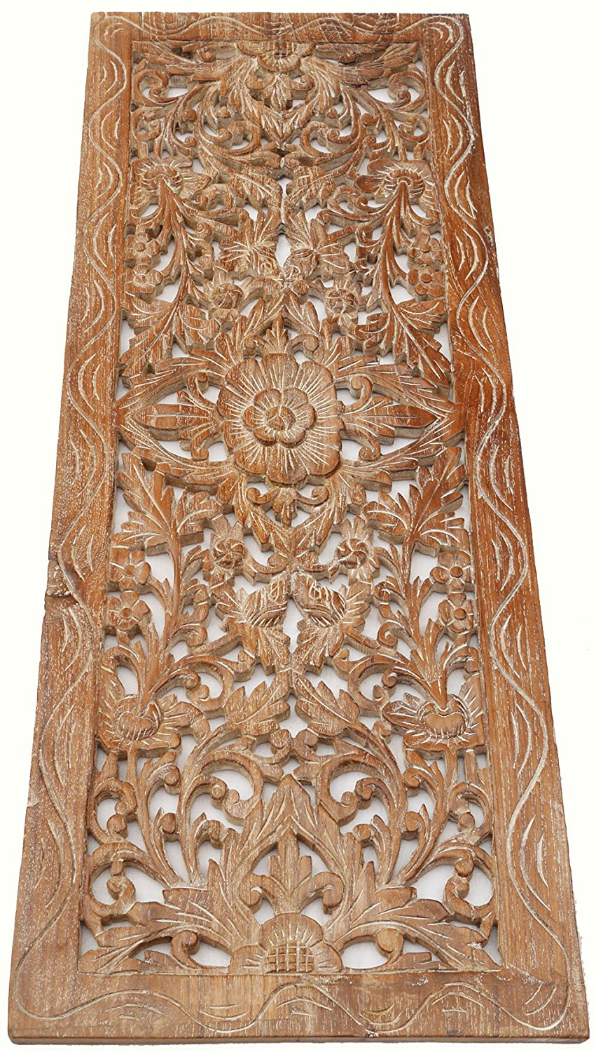 Large Carved Wood Wall Panel Fl Decor Size 35 5 X13