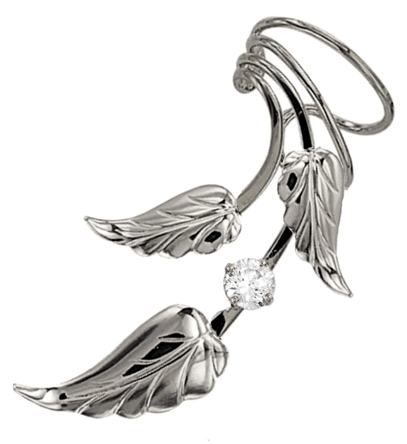 Ear Charms Delicate Leaf and Flower Long Wave Ear Cuff Non Pierced Earring Wrap Single Right EZ Care Rhodium on Silver