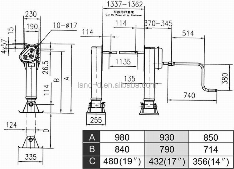 Semi Trailer Container 19 Inches Gearbox Outboard One Handle Jack Gear Weld  30t Truck Supporting Legs - Buy Truck Supporting Legs,Trailer Support