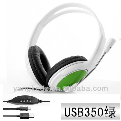 Stylish USB 2.0 Stereo Headset Headphone / Microphone / Speaker - Green+blue + Red (2m-Cable)