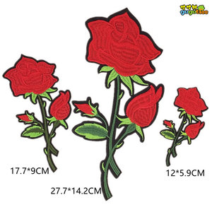 embroidery rose iron on flower patches