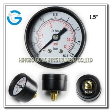 Black steel air compressor pressure gauge