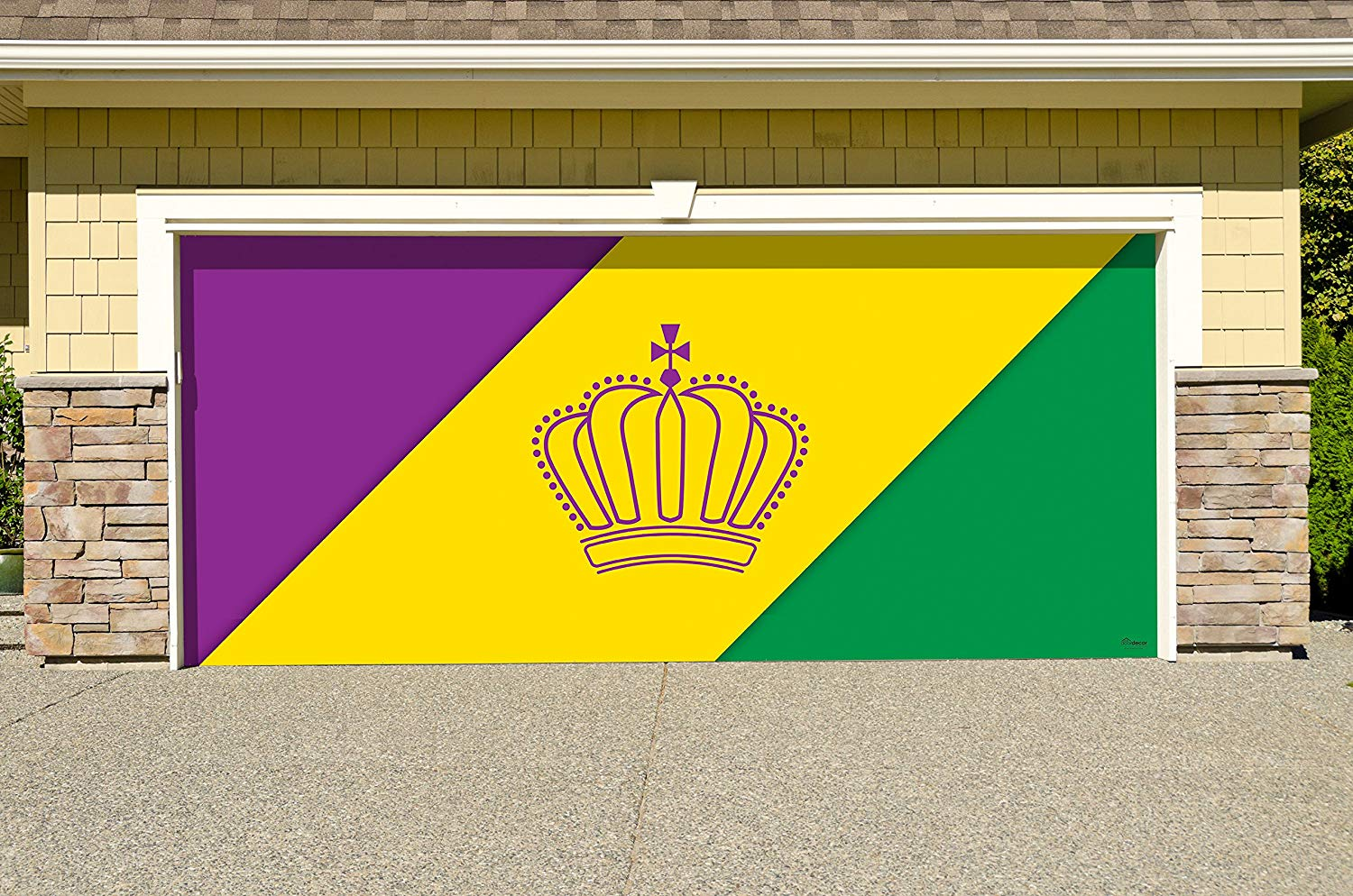 Victory Corps Outdoor Mardi Gras Decorations Garage Door Banner Cover Mural Décoration 7'x16' - Mardi Gras Diagonal Stripes - The Original Mardi Gras Supplies Holiday Garage Door Banner Decor