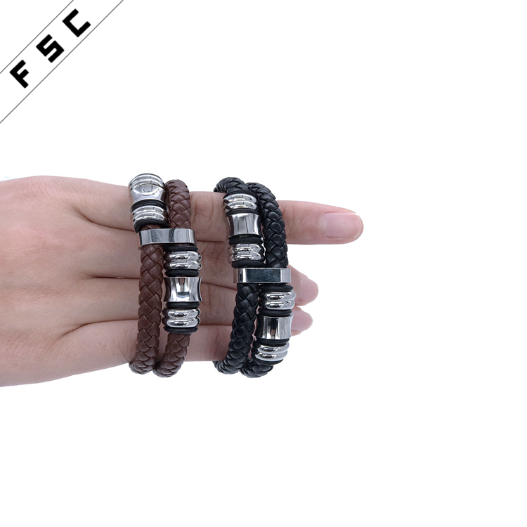 punk vogue Genuine Leather braided multi layered magnetic clasp stainless steel bracelet