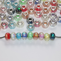 Wholesale Multi Color 14 mm Silver Big Hole Resin Flat Round Charms Beads For DIY European Necklace Bracelet Making
