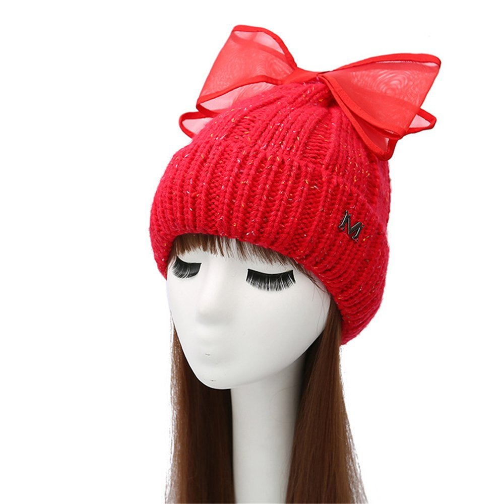 6539d706d4b88 Get Quotations · TTjII-XY Beret Hat big bow knot Chunky Soft Knit Slouchy  Knitted Cap Beret Beanie