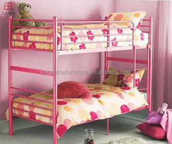 Bedroom funirture white red black pink metal iron kids for Bedroom designs with double deck