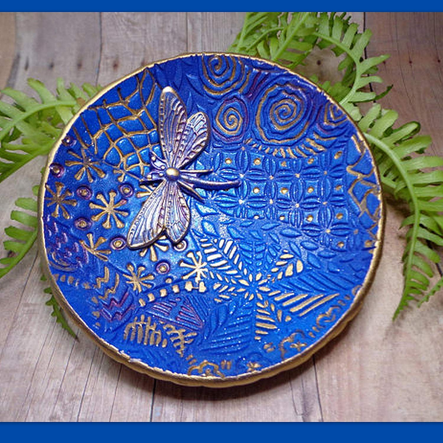 Moroccan Dragonfly Ring Dish- Handmade Jewelry Holder-Trinket Dish- Polymer Clay Dish- Home Decor- Gifts for Her Birthday