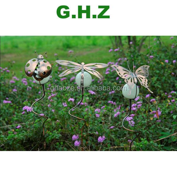 Ornamentel Ladybug With Glow In The Dark Ball Metal Ladybug Garden Stakes  Decorative Metal Stake Factory