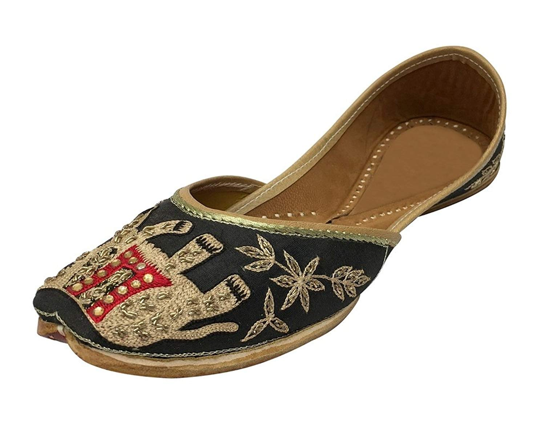 b8b3980d9b134 Get Quotations · Step n Style Flat Beaded Sandals Flat Sandals Flat Shoes  Indian Sandals Khussa Jutti