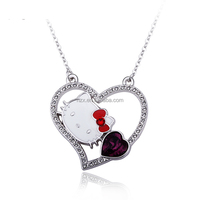 OUXi fashion western style wholesale Hello Kitty crystal pendant alloy rhodium plated necklace 10874