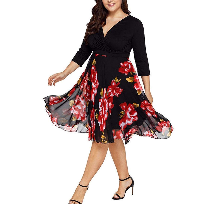4812cef09a09 Get Quotations · WYTong Women Plus Size Floral Chiffon Dresses Long Sleeve  V Neck Boho Dresses