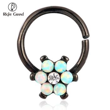 16g Black Opal Flower Earring Daith Hoop Stud Cartilage Piercing