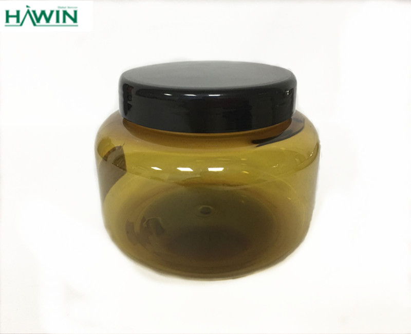 500g PET amber Plastic cosmetic packaging jar for hair gel