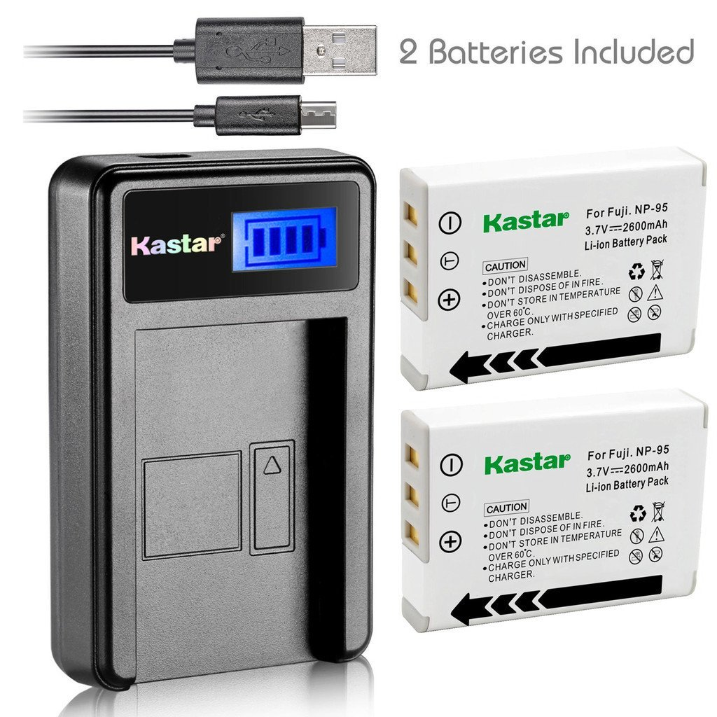 Kastar Battery (X2) & LCD Slim USB Charger for Fujifilm FNP95, NP95, NP-95 and Finepix F30, F31FD, Real 3D W1, X30, X100, X100T, X100LE, X100S, X-S1 and Ricoh DB-90, GXR, GXR Mount A12, GXR P10