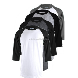 Cheap CUSTOM Wholesale Fashion Men's 4 Pack 3/4 Sleeve Baseball Cotton Crew Neck Raglan Tee Shirts S to 3XL