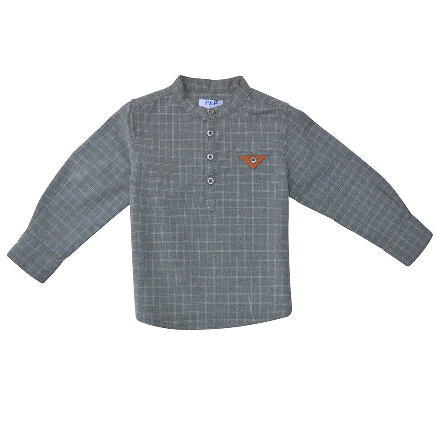 Piccino Piccina Baby Boy's Buttoned Gray Shirt - w/Plaid Design