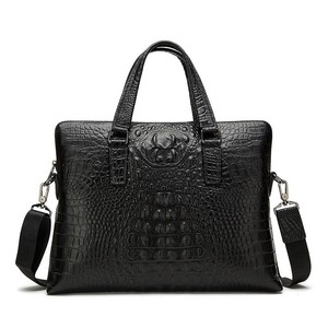 Wholesale lawyers genuine crocodile leather briefcase with secrey compartment