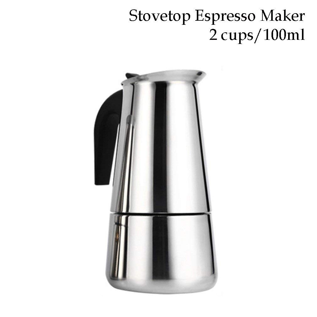 Stovetop Espresso Maker Stainless Steel Moka Pot Coffee Maker 2 Cup/100Ml