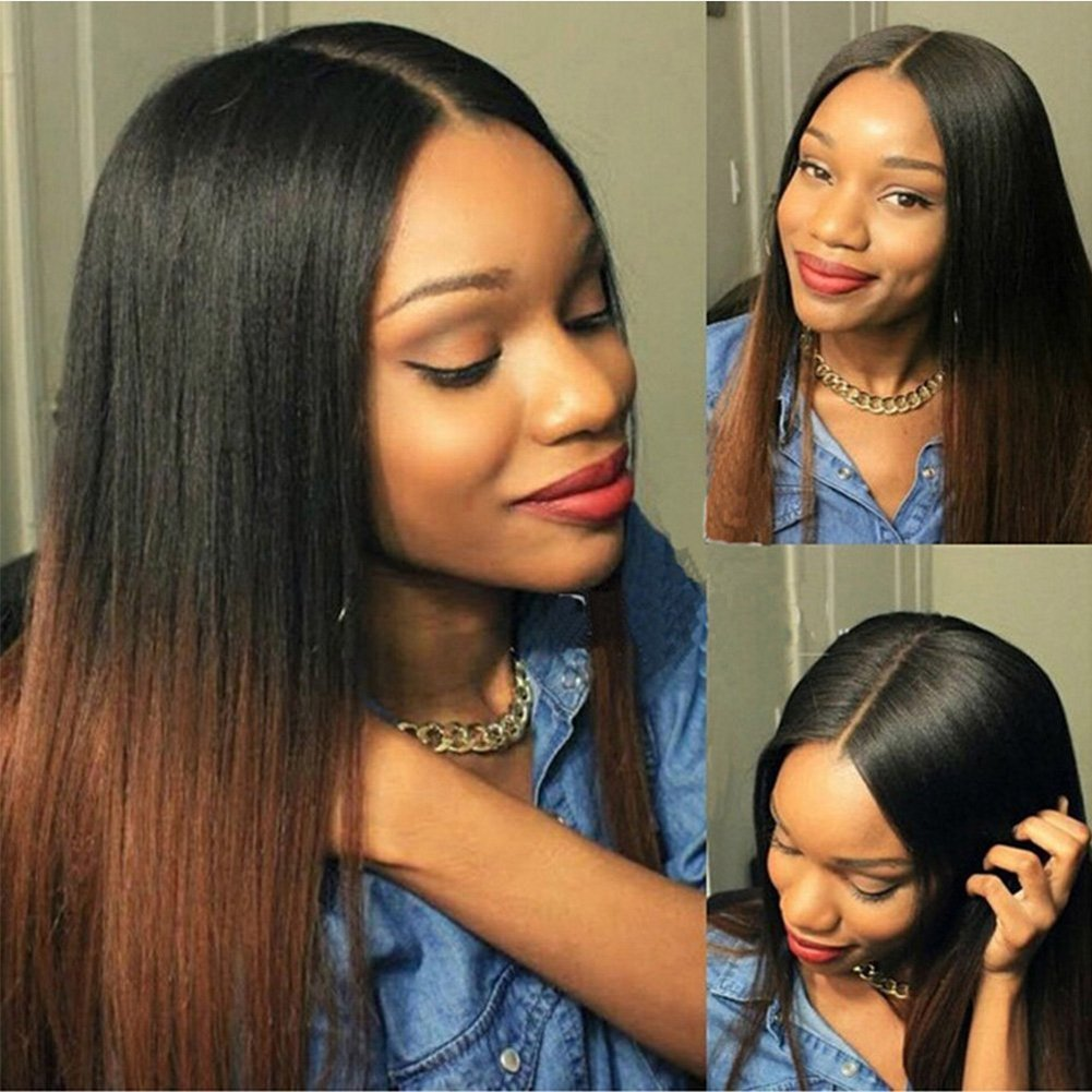 Human Hair Full Lace Wigs 150% Density Ombre Color Silky Straight Brazilian Virgin Human Hair Wigs Ombre Black Wig Black in Roots, Pic Brown the Rest Wigs Human Hair Wigs Glueless Full Lace Wig 18¡±