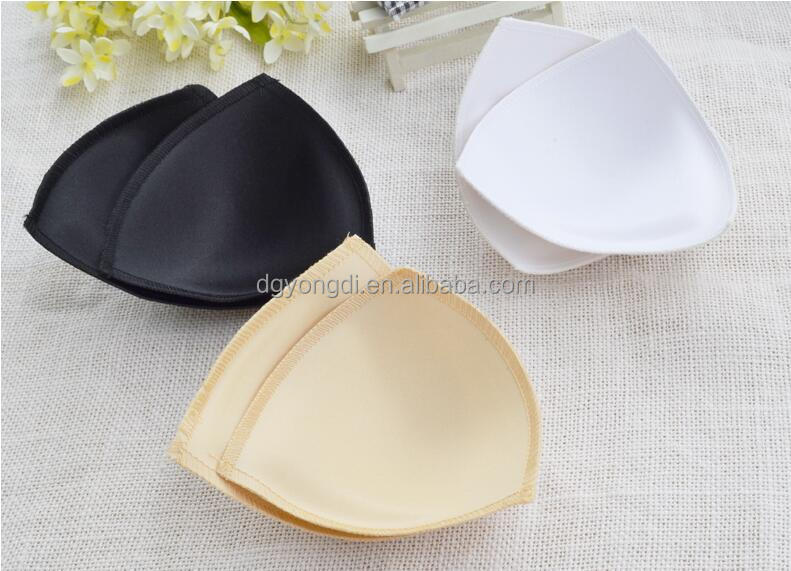 triangle shape brassiere pad/Removable molded triangle shape light weight fabric bra cups for dresses