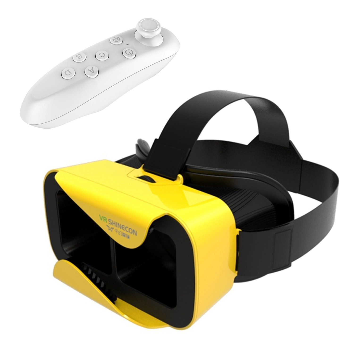Tsanglight VR Headset, Virtual Reality 3D Glasses VR Helmet Game Video Headset[Newest]+Wireless Remote Controller for IOS iPhone 7/6S Plus, Android Samsung S7 Edge/S7[4.7-6.0inch Smart Phone]-Yellow