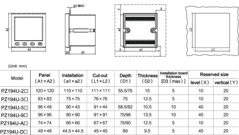 PZ194U-9X4 96*96mm panel mount three phase digital display AC voltmeter