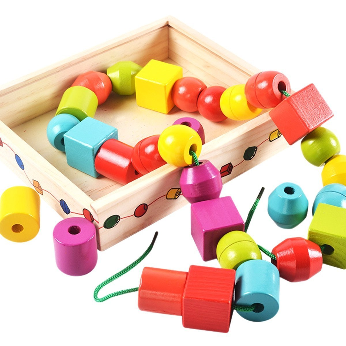 Model Building Wooden Diy City String Rope Toy For Children Educational Wear Beads Games Colorful Wood Building Block Set Montessori Toys Gifts Toys & Hobbies