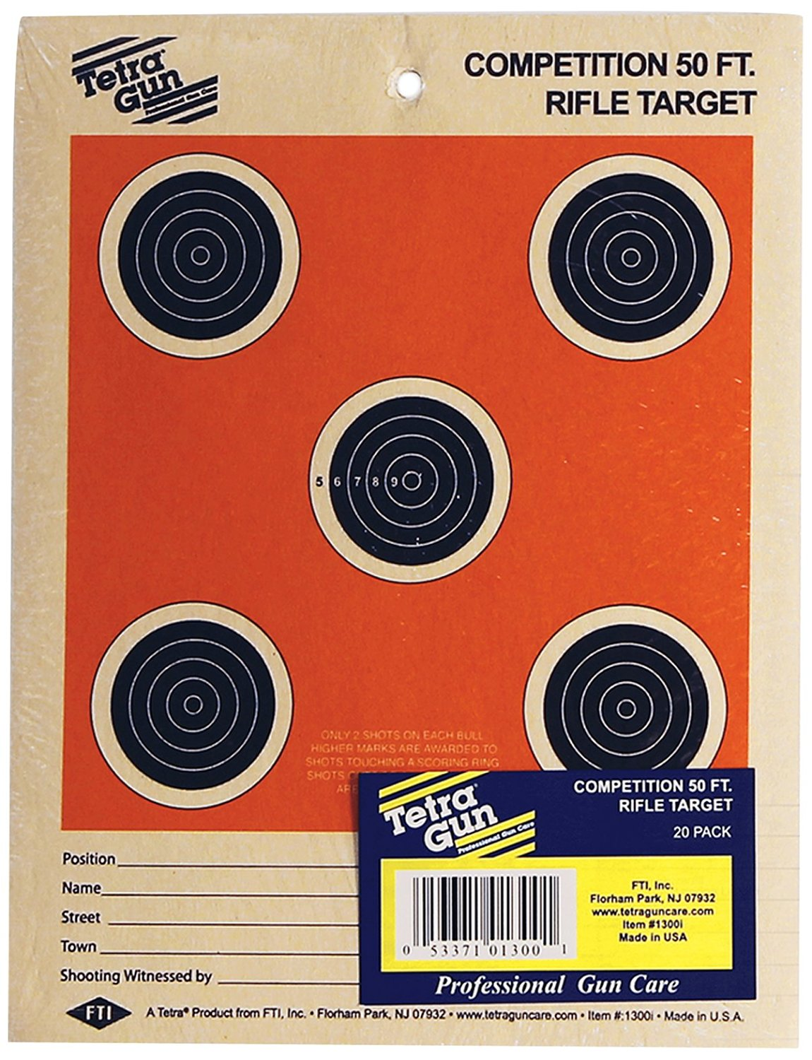 Tetra Gun Competition Rifle Targets, 50-Feet