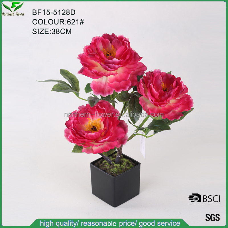 38cm high imitation artificial silk plants,artificial peonies flower wholesale with plastic square pot
