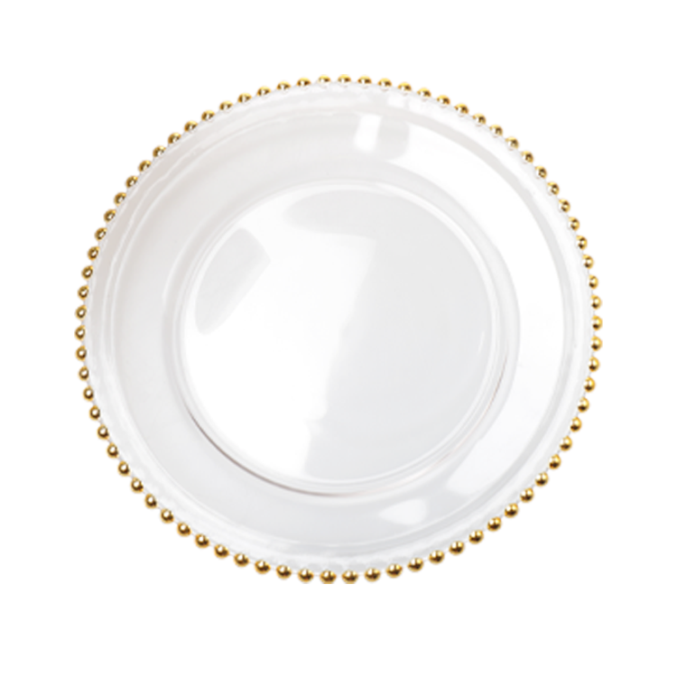 gold rim glass beaded charger dishes plate