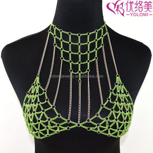 Slave Body Chain Jewelry Mixed Colors Link Harness Bra Body Jewelry BC0524O