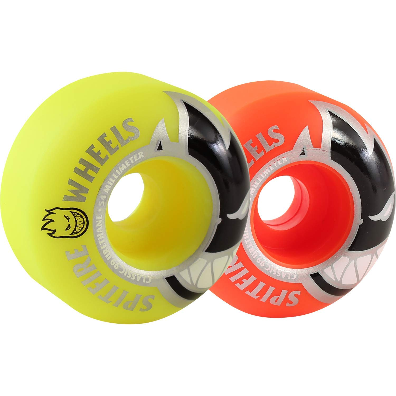 Spitfire Wheels Bighead Classic Mashup Orange/Neon Yellow Skateboard Wheels - 54mm 99a (Set of 4)