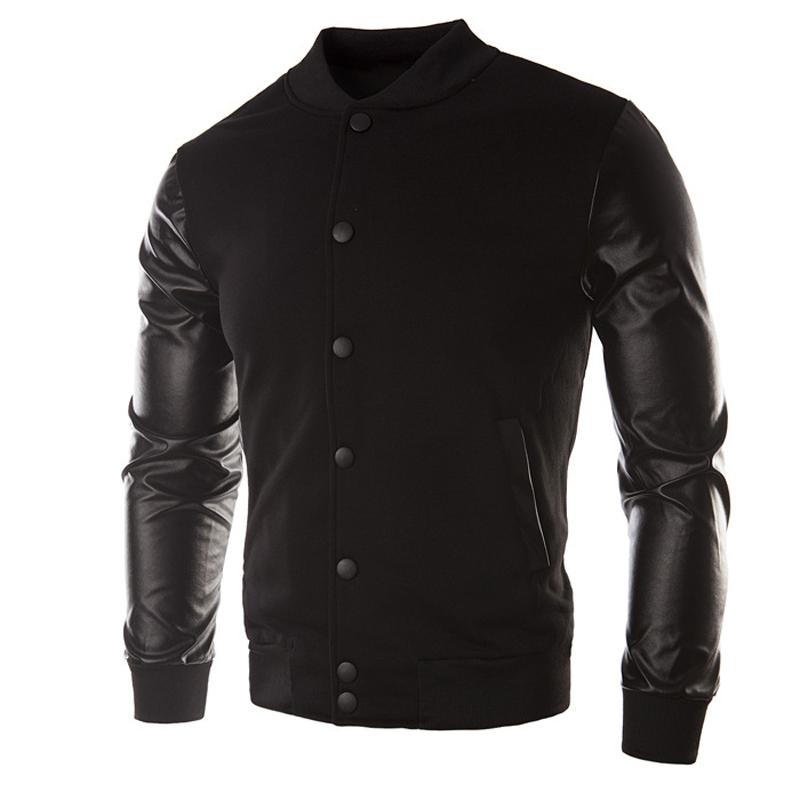 Leather sleeve baseball jacket