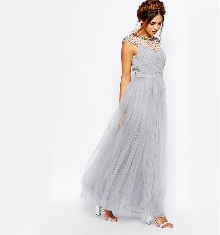 maxi jurk met geplooide lijfje tule rok met rits achterkant ontwerp