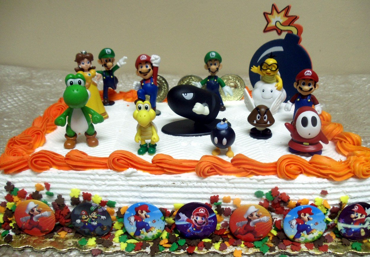 Cool Buy Mario Brothers Birthday Party 22 Piece Mario Birthday Cake Funny Birthday Cards Online Alyptdamsfinfo